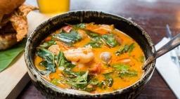 Thaise vissoep uit eigen keuken.